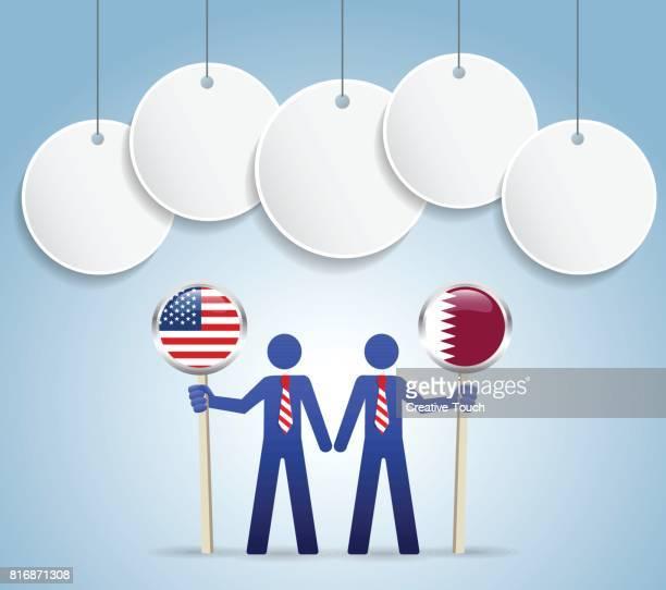 Businessman usa - qatar flag concept