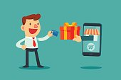 businessman use credit card to shoping online