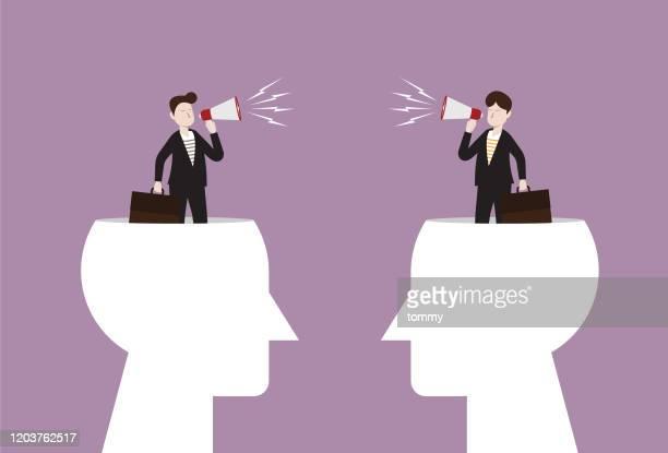 businessman use megaphone in human head - challenge stock illustrations