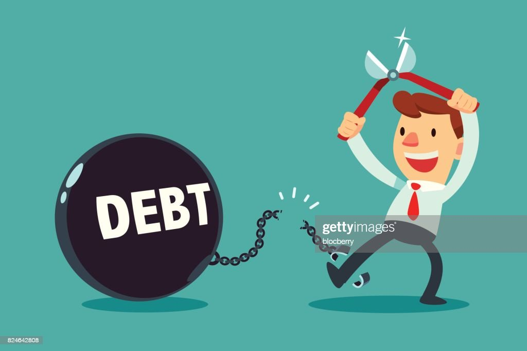 businessman use pliers to cut the chain and debt metal ball