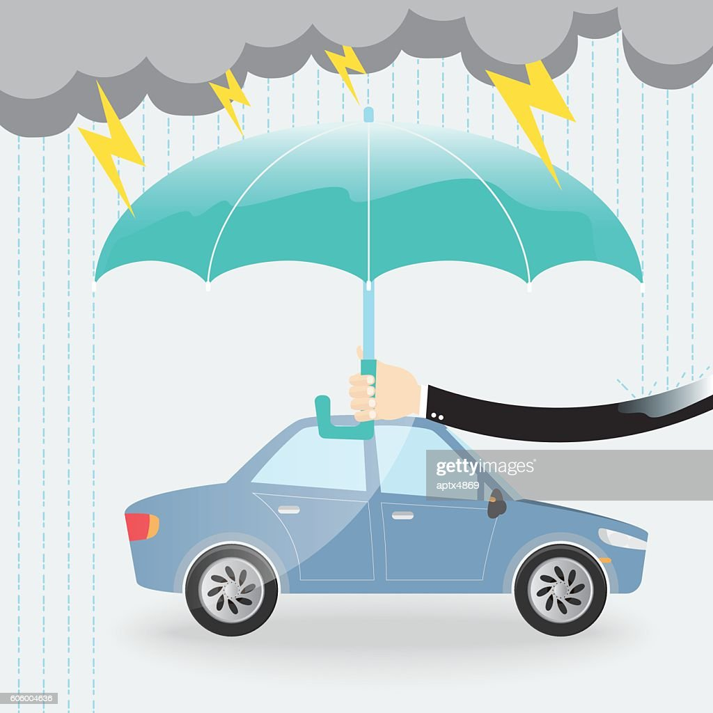 businessman use umbrella protecting a car from rain and lightning