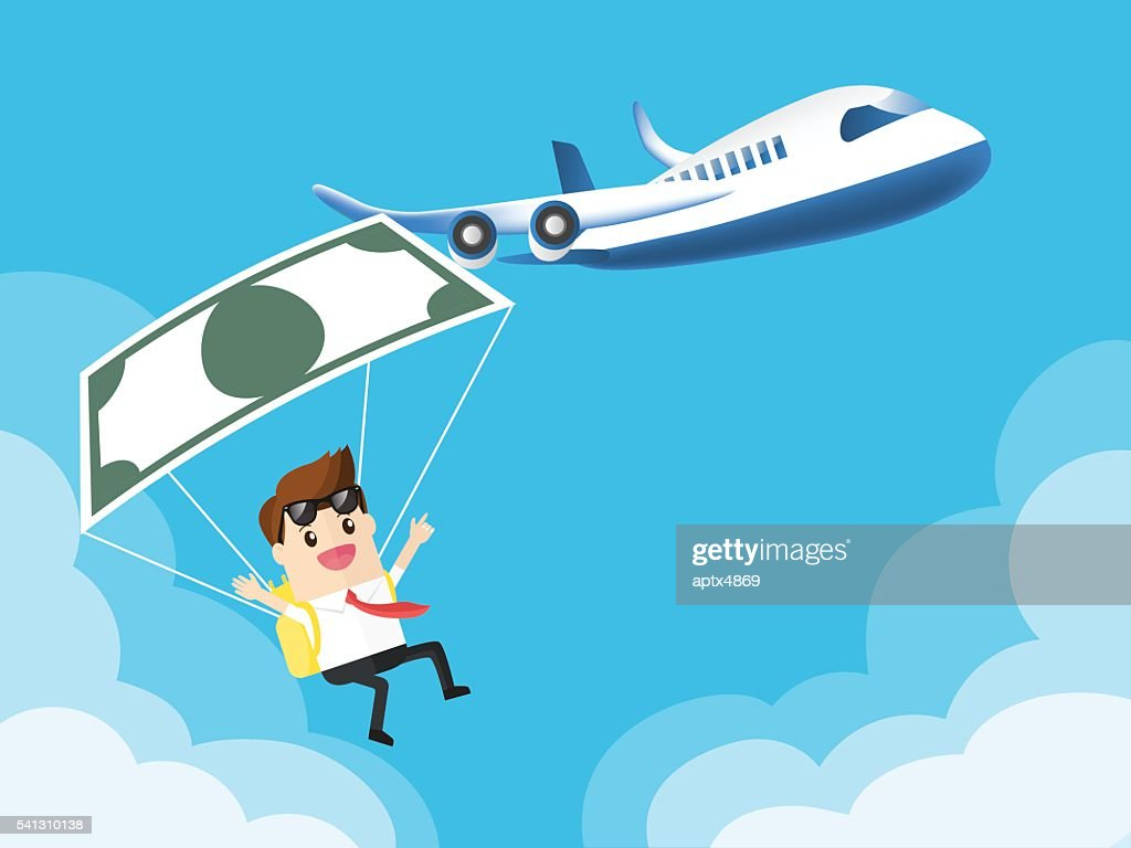 businessman used banknote like a parachute with airplane