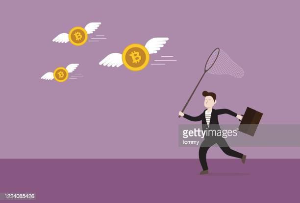 ビジネスマンは、暗号通貨コインをキャッチするために蝶のネットを使用しています - 仮想通貨点のイラスト素材/クリップアート素材/マンガ素材/アイコン素材