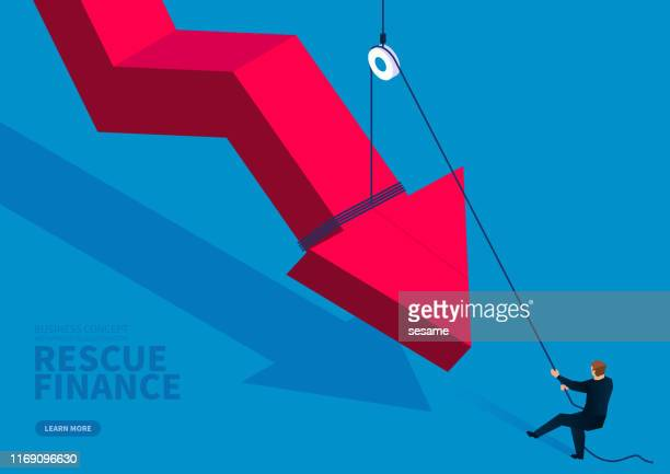 businessman uses a fixed pulley to pull up the falling red arrow - defeat stock illustrations