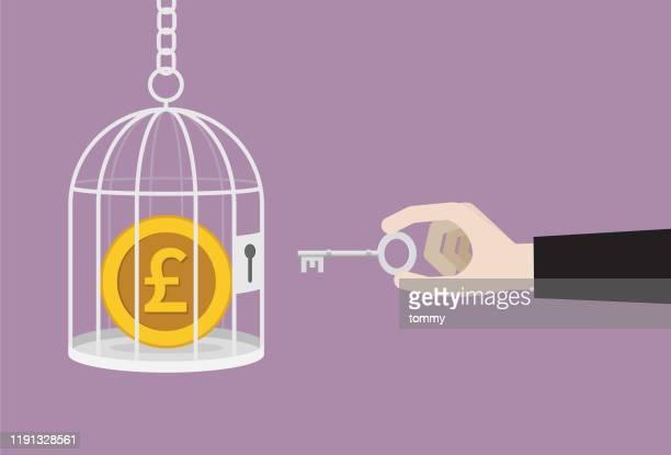 ビジネスマンはケージからキーロック解除英国ポンドコインを使用します - 開錠点のイラスト素材/クリップアート素材/マンガ素材/アイコン素材