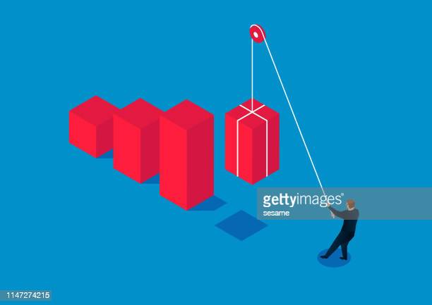 businessman uses a pulley to pull up the bar chart, the concept of business growth - arranging stock illustrations