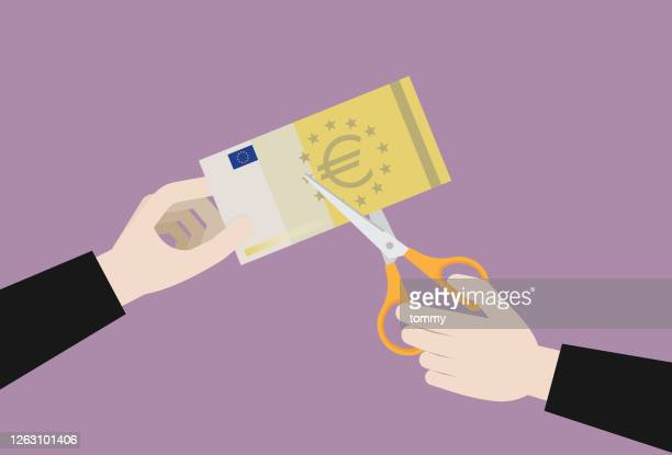 businessman uses scissors to cut a euro banknote - inflation stock illustrations