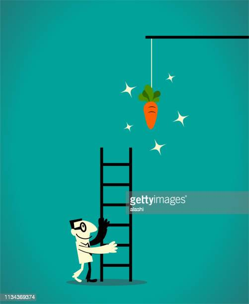 businessman using a ladder to catch the dangling carrot at the end of a stick - fool stock illustrations, clip art, cartoons, & icons