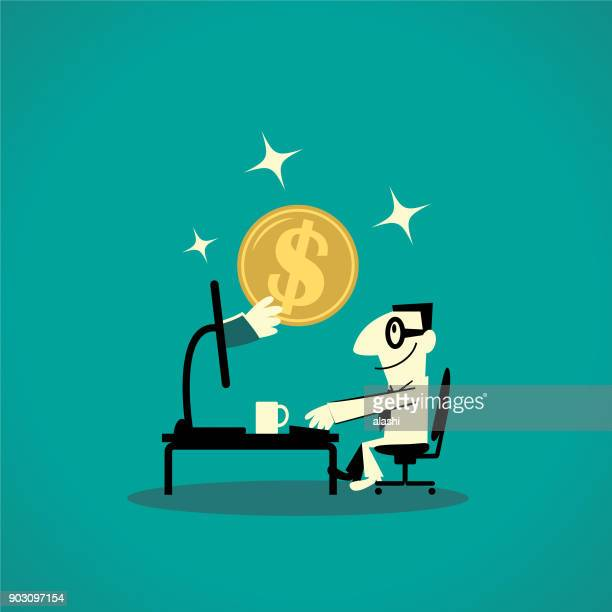 businessman using computer at desk, sitting on chair, hand with gold dollar coin from pc - financial technology stock illustrations, clip art, cartoons, & icons