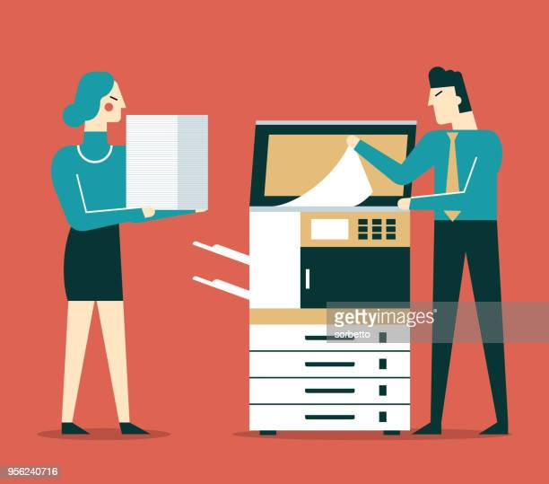 businessman using copy machine - photocopier stock illustrations, clip art, cartoons, & icons