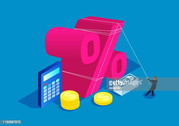 businessman using rope to pull percent sign, business concept - interest rate stock illustrations