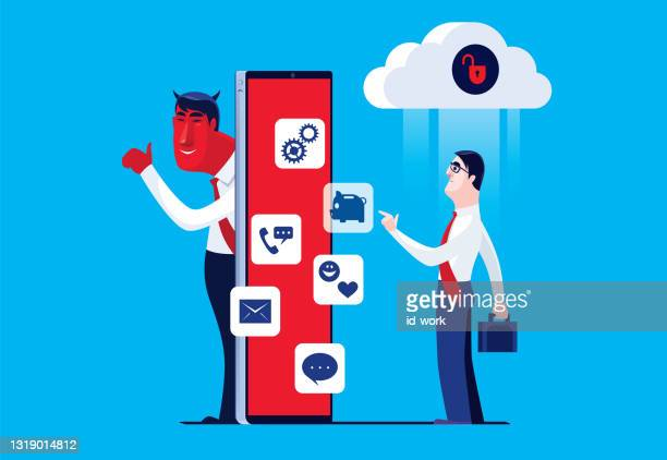 businessman using smartphone with unsafe cloud computing - scammer stock illustrations