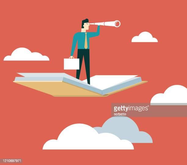ilustraciones, imágenes clip art, dibujos animados e iconos de stock de empresario usando telescopio en libro volador - adulto