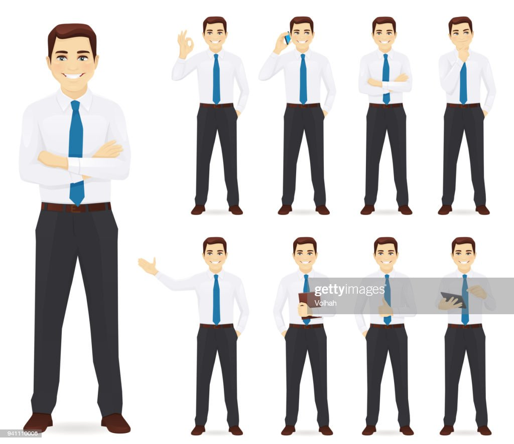 Businessman vector illustration set