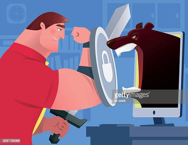 businessman versus bear - office fight stock illustrations, clip art, cartoons, & icons