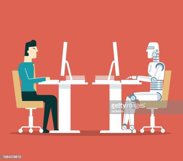 geschäftsmann gegen roboter - neu stock-grafiken, -clipart, -cartoons und -symbole