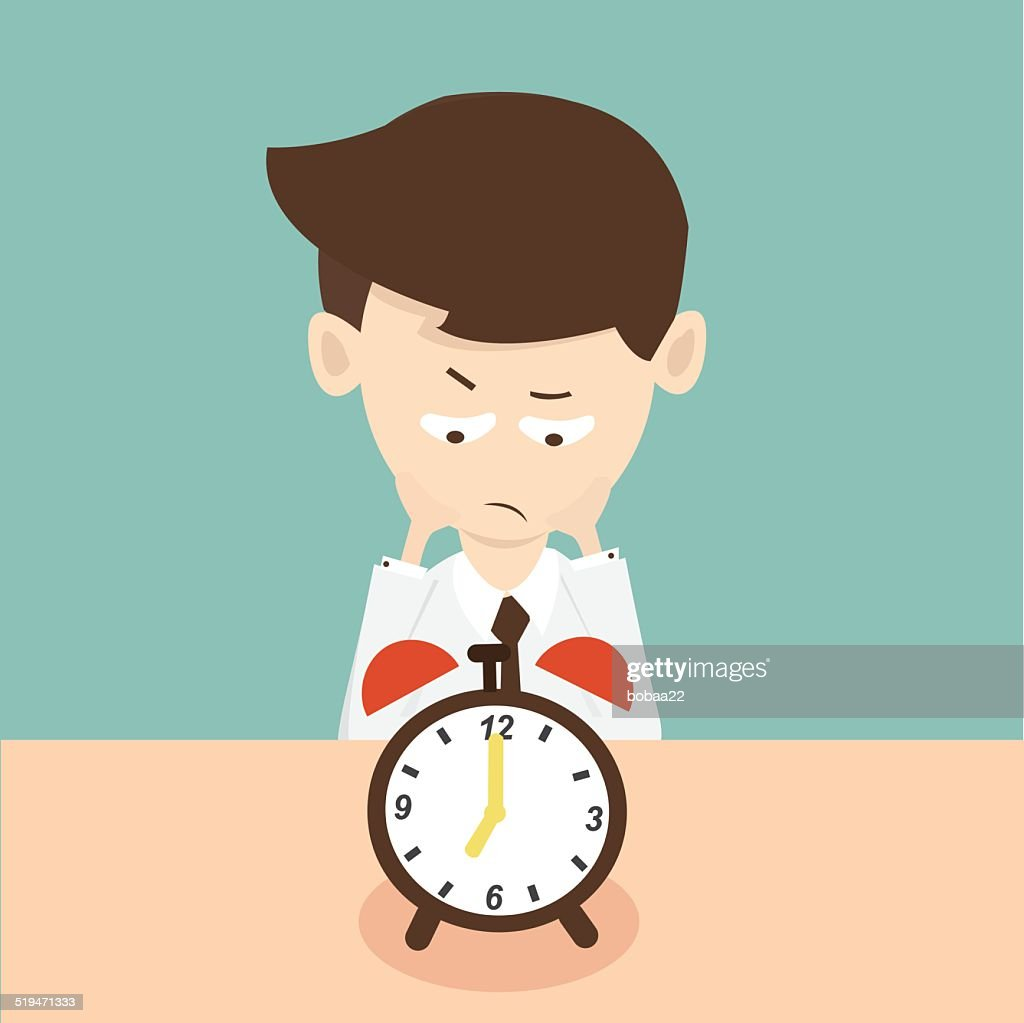 businessman waiting  time and looking at a clock