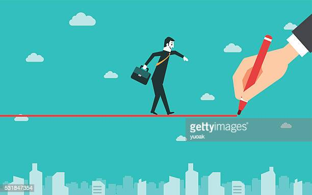 Businessman walking on drawn line