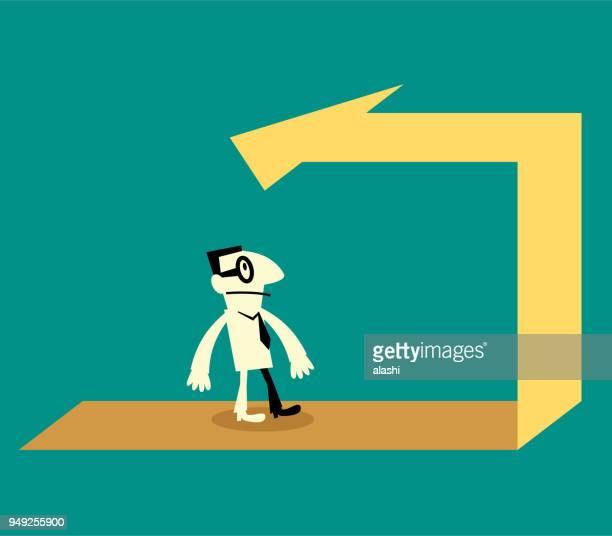 illustrazioni stock, clip art, cartoni animati e icone di tendenza di businessman walking on the back arrow way - rinviare la palla