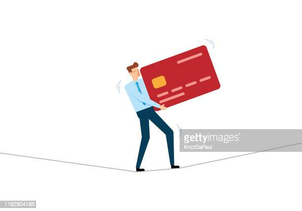 businessman walking on tightrope concept - balance stock illustrations