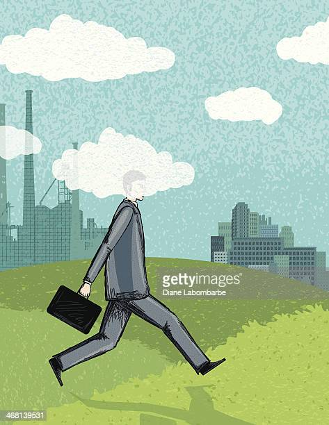 Businessman Walking To Work With His Head In The Clouds