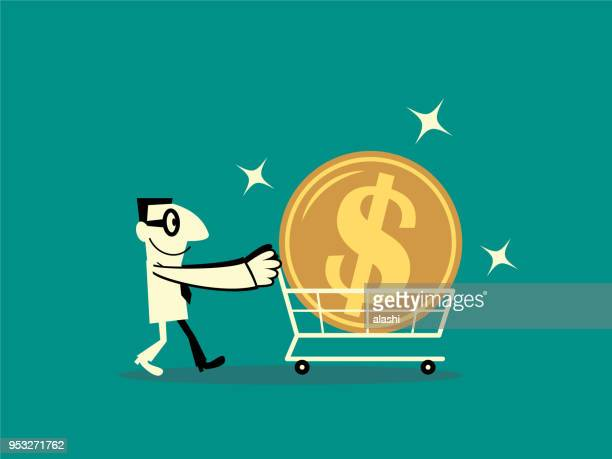 Businessman walking with shopping cart and big dollar sign currency money