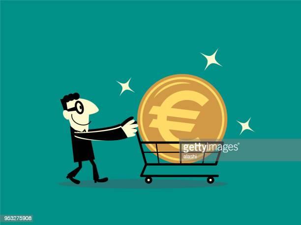 Businessman walking with shopping cart and big euro sign currency money