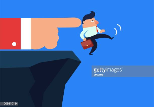 businessman was pushed down the cliff by huge hands - office politics stock illustrations, clip art, cartoons, & icons