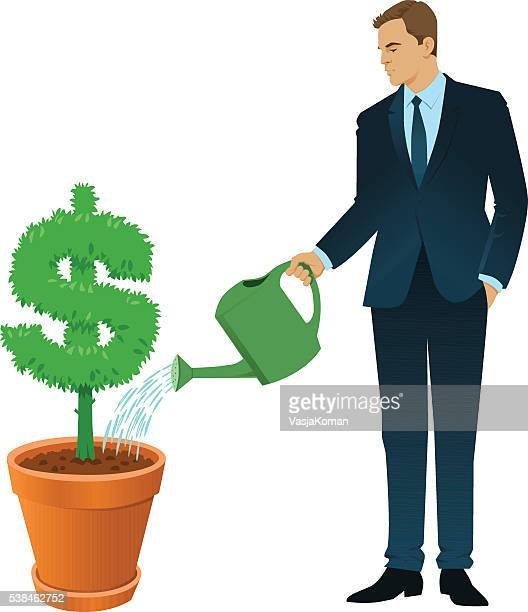 businessman watering a dollar sign tree - landscaper professional stock illustrations, clip art, cartoons, & icons