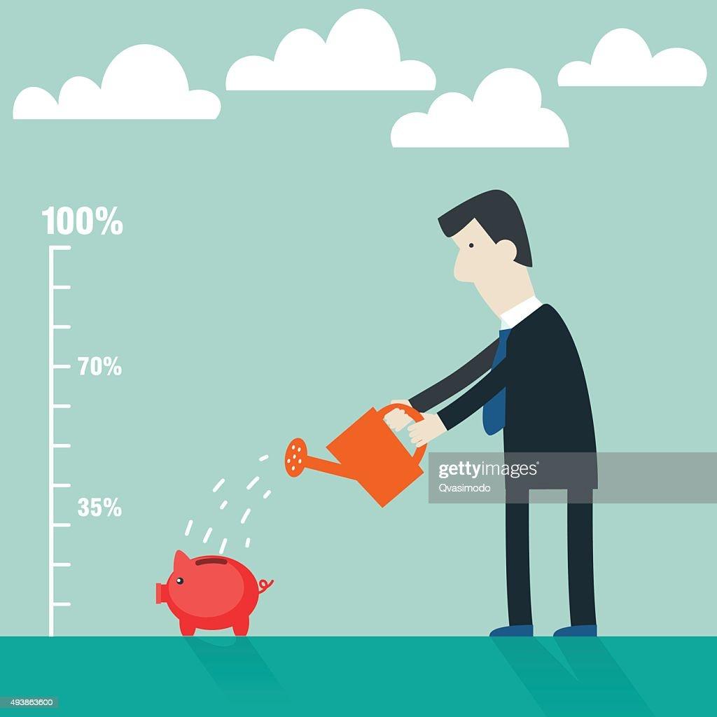 Businessman watering piggy bank. Businessman investing money concept