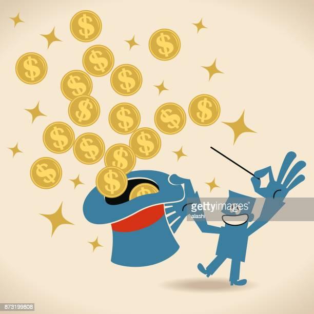geschäftsmann, winken den zauberstab, geld aus dem zauberhut fliegen - amerikanische währung stock-grafiken, -clipart, -cartoons und -symbole