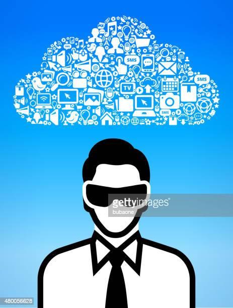Empresário vestindo Óculos de realidade Virtual 3D e ícone conjunto experiência
