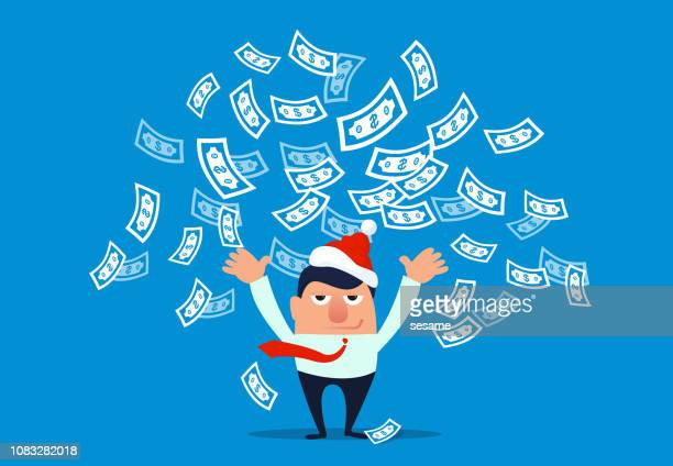 businessman wearing christmas hat and throwing money - millionnaire stock illustrations, clip art, cartoons, & icons