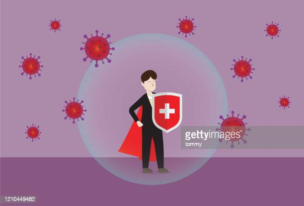 businessman wears a red cape and a shield fighting with a virus - head above water stock illustrations