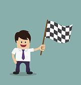 Businessman winning flag concept