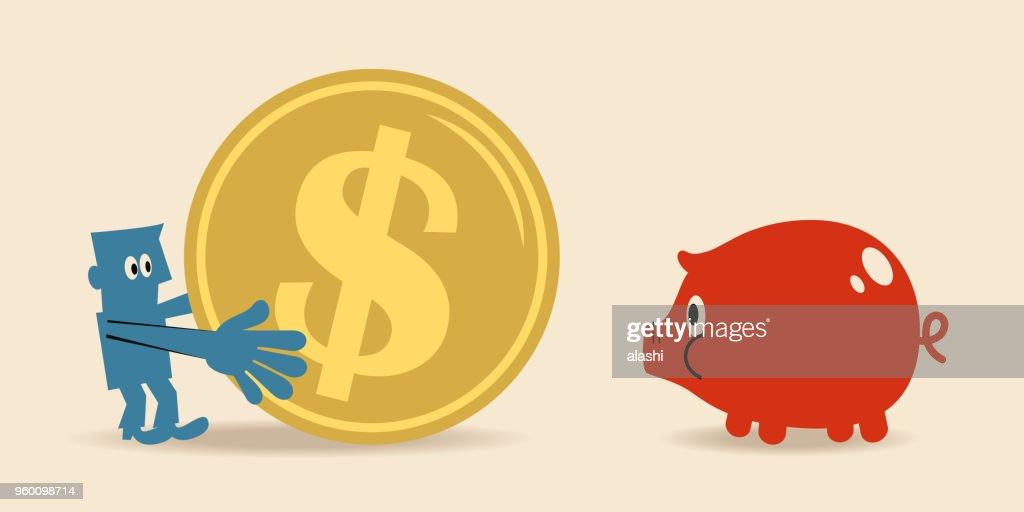 Geschäftsmann mit einer großen Dollarzeichen Münze Währung und ein kleines Sparschwein : Stock-Illustration