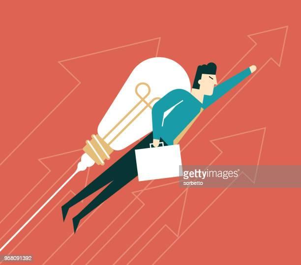 illustrazioni stock, clip art, cartoni animati e icone di tendenza di uomo d'affari con un razzo a bulbo - motivazione