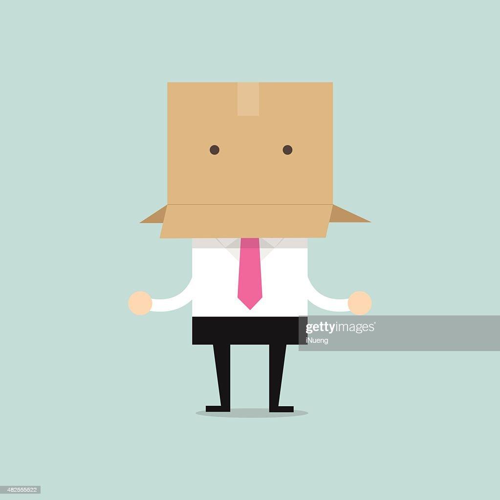 Businessman with a cardboard box on his head