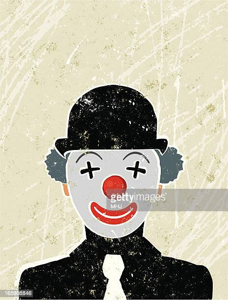 illustrations, cliparts, dessins animés et icônes de homme d'affaires avec un clown visage - clown