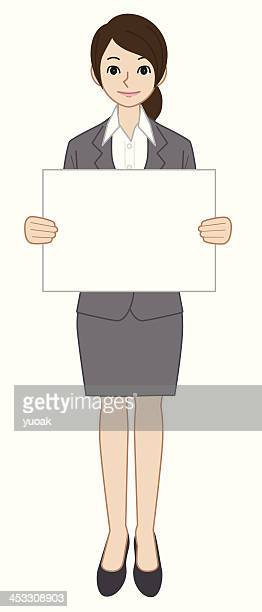Businessman with a paper board