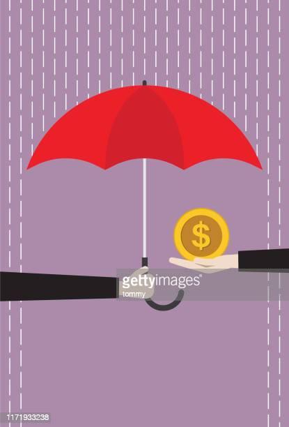 赤い傘を持つビジネスマンは、雨からドルコインを保護します - 事故・災害点のイラスト素材/クリップアート素材/マンガ素材/アイコン素材