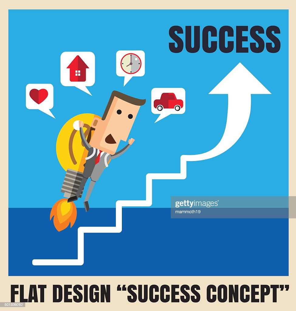 Businessman with a rocket go to succes. Vector illustration Eps1