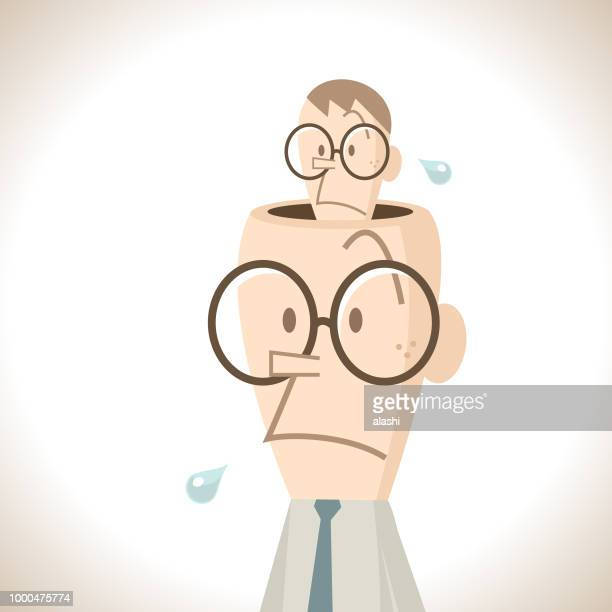 businessman with a small man hiding inside the opened head (inner self) - hidden stock illustrations, clip art, cartoons, & icons