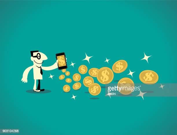 スマート フォン (携帯電話) とドル金貨 (仮想通貨) の多くの実業家