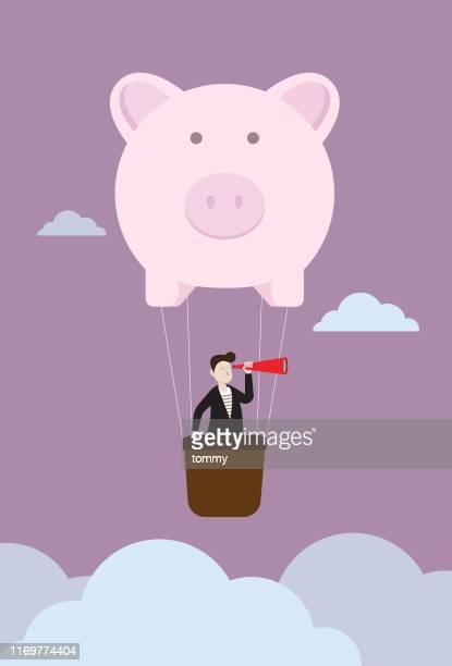 illustrations, cliparts, dessins animés et icônes de homme d'affaires avec un télescope dans le ballon de tirelire - épargne