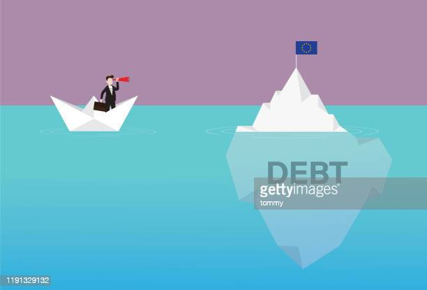 businessman with a telescope on a paper boat looking euro flag on the iceberg - iceberg ice formation stock illustrations