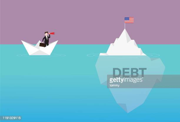 businessman with a telescope on a paper boat looking us flag on the iceberg - iceberg ice formation stock illustrations