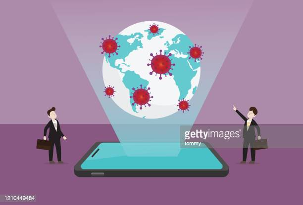 businessman with a virus around the world - viral shedding stock illustrations