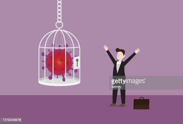 businessman with a virus in the cage - viral shedding stock illustrations