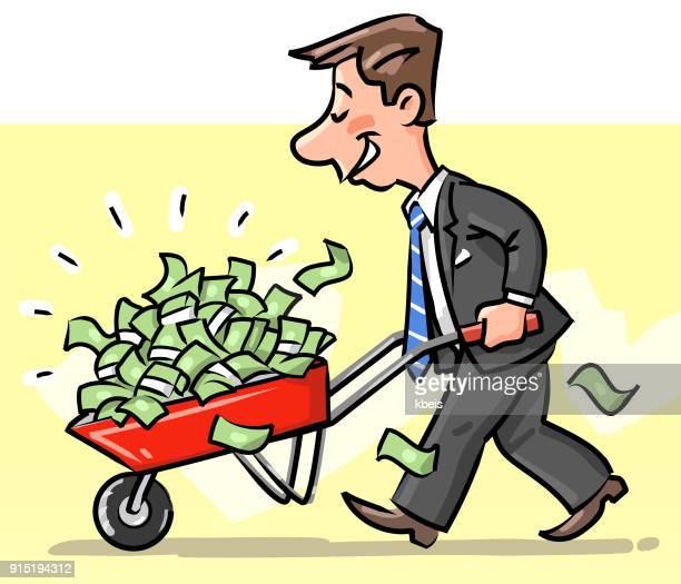businessman with a wheelbarrow full of money - bribing stock illustrations